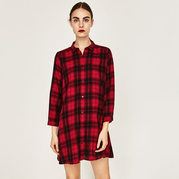 b190b158532 Zara Dresses | Plaid Shirt Dress | Poshmark